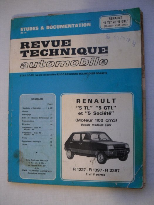 revue technique automobile pour renault 5 tl gtl et soci t depuis mod le 1980. Black Bedroom Furniture Sets. Home Design Ideas