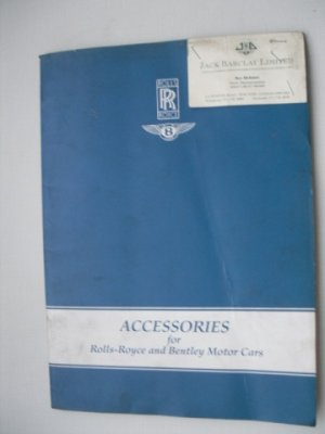 Catalogue d'origine d'accessoires ROLLS ROYCE et BENTLEY