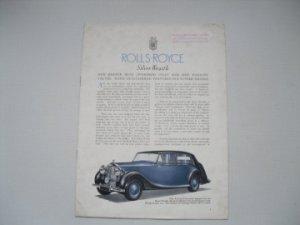 Catalogue Publicitaire ROLLS ROYCE Silver Wraith de 1947